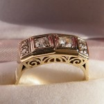 Art Deco 585 Ring mit Diamanten
