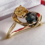333 Ring mit zwei Edelsteine